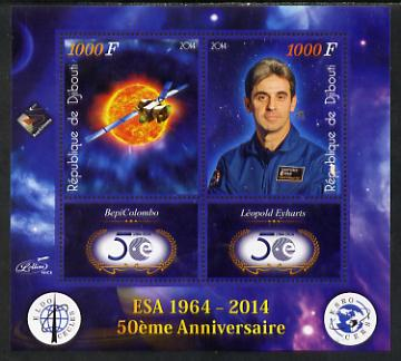 Djibouti 2014 50th Anniversary of European Space Agency - BepiColombo & Leopold Eyharts perf sheetlet containing 2 values plus 2 label unmounted mint