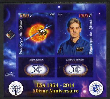 Djibouti 2014 50th Anniversary of European Space Agency - BepiColombo & Leopold Eyharts imperf sheetlet containing 2 values plus 2 label unmounted mint