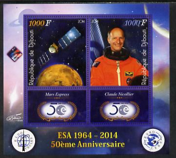 Djibouti 2014 50th Anniversary of European Space Agency - Mars Express & Claude Nicollier perf sheetlet containing 2 values plus 2 label unmounted mint, stamps on space, stamps on personalities, stamps on satellites, stamps on  esa , stamps on