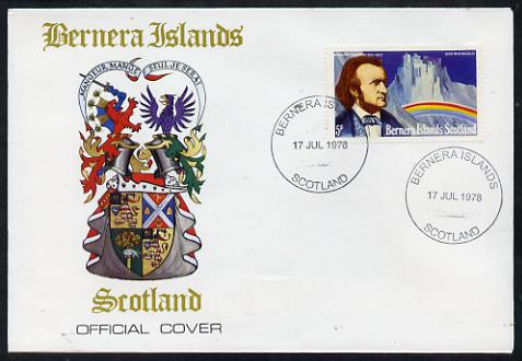 Bernera 1978 Richard Wagner perf 5p on Official unaddressed cover with first day cancel, stamps on personalities, stamps on composers, stamps on music, stamps on strauss, stamps on operas, stamps on opera, stamps on rainbows