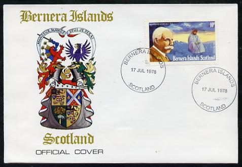 Bernera 1978 Sir Edward Elgar perf 10p on Official unaddressed cover with first day cancel