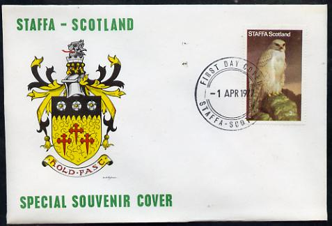 Staffa 1977 Greenland Gyrfalcon perf 3.5p on Official unaddressed cover with first day cancel