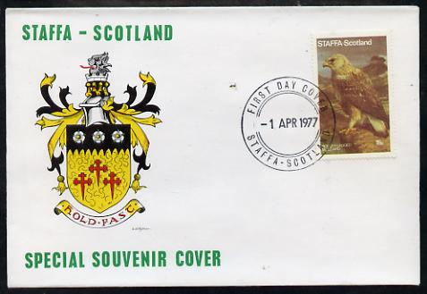 Staffa 1977 Rough Legged Buzzard perf 15p on Official unaddressed cover with first day cancel