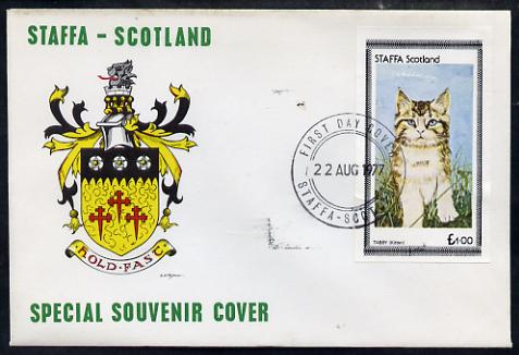 Staffa 1977 Tabby Kitten imperf \A31 souvenir sheet on Official unaddressed cover with first day cancel