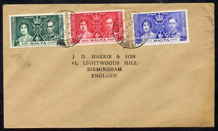 Malta 1937 KG6 Coronation set of 3 on cover with first day cancel addressed to the forger, J D Harris.  Harris was imprisoned for 9 months after Robson Lowe exposed him f...