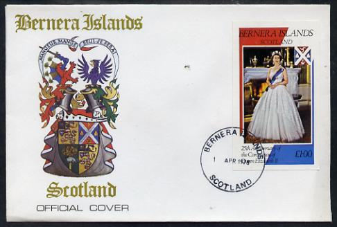 Bernera 1978 Coronation 25th Anniversary imperf souvenir sheet (\A31 value) The Queen on special cover with first day cancels