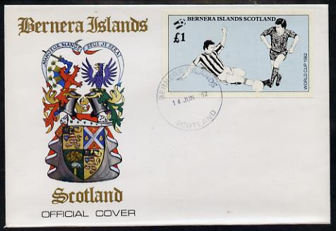 Bernera 1982 Football World Cup imperf souvenir sheet (\A31 value) on special cover with first day cancels