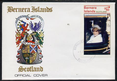 Bernera 1982 Princess Di's 21st Birthday souvenir sheet (\A31 value) on special cover with first day cancels