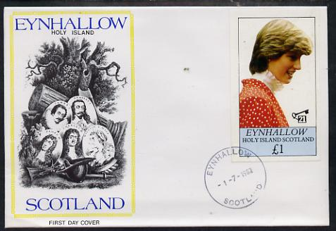 Eynhallow 1982 Princess Di's 21st Birthday imperf souvenir sheet (\A31 value) on special cover with first day cancels