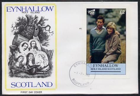 Eynhallow 1982 Princess Di's 21st Birthday imperf deluxe sheet (\A32 value) on special cover with first day cancels