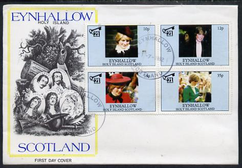 Eynhallow 1982 Princess Di's 21st Birthday perf sheetlet containing set of 4 values on special cover with first day cancels