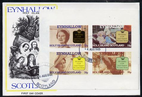 Eynhallow 1985 Life & Times of HM Queen Mother imperf sheetlet of 4 values on special cover with first day cancels