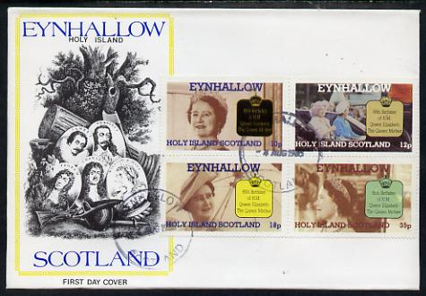 Eynhallow 1985 Life & Times of HM Queen Mother perf sheetlet of 4 values on special cover with first day cancels