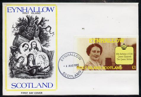 Eynhallow 1985 Life & Times of HM Queen Mother imperf souvenir sheet (\A31 value) on special cover with first day cancels