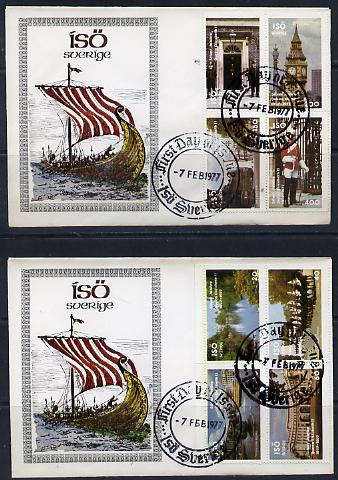 Iso - Sweden 1977 Silver Jubilee perf set of 8 values (London Scenes) on 2 special covers with first day cancels