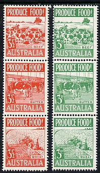 Australia 1953 Food Production set of 6 in 2 se-tenant strips unmounted mint, SG 255-60, stamps on food, stamps on bovine, stamps on agriculture