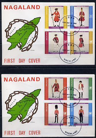 Nagaland 1978 Coronation 25th Anniversary perf set of 8 on 2 special covers with first day cancels