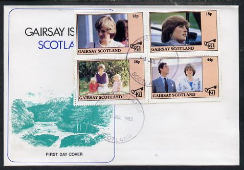 Gairsay 1982 Princess Di's 21st Birthday perf sheetlet containing complete set of 4 values on special cover with first day cancels