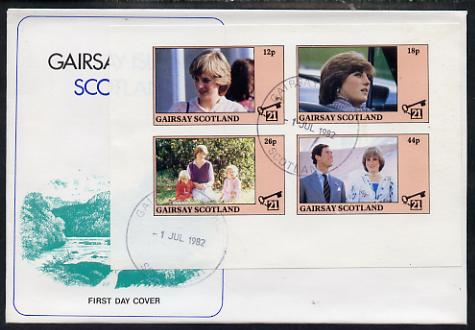 Gairsay 1982 Princess Di's 21st Birthday imperf sheetlet containing complete set of 4 values on special cover with first day cancels