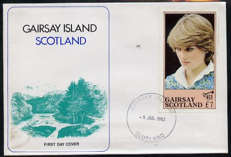 Gairsay 1982 Princess Di's 21st Birthday imperf souvenir sheet (\A31 value) on special cover with first day cancels