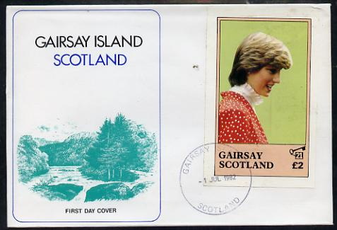 Gairsay 1982 Princess Di's 21st Birthday imperf deluxe sheet (\A32 value) on special cover with first day cancels