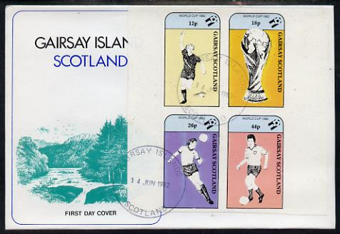 Gairsay 1982 Football World Cup imperf sheetlet containing set of 4 values on special cover with first day cancels