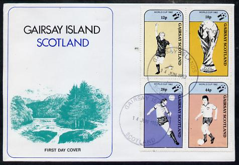 Gairsay 1982 Football World Cup perf sheetlet containing set of 4 values on special cover with first day cancels