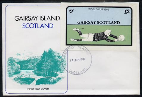 Gairsay 1982 Football World Cup imperf deluxe sheet (\A32 value) on special cover with first day cancels