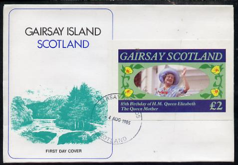 Gairsay 1985 Life & Times of HM Queen Mother imperf deluxe sheet (\A32 value) on special cover with first day cancels