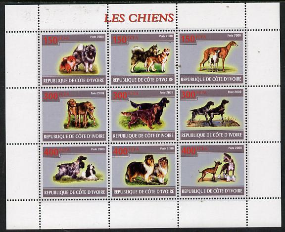 Ivory Coast 2009 Dogs perf sheetlet containing 9 values unmounted mint