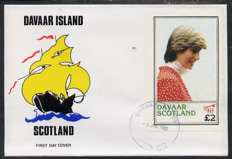 Davaar Island 1982 Princess Di's 21st Birthday imperf deluxe sheet (\A32 value) on special cover with first day cancels