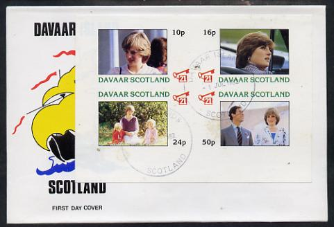 Davaar Island 1982 Princess Di's 21st Birthday imperf sheetlet containing complete set of 4 values on special cover with first day cancels