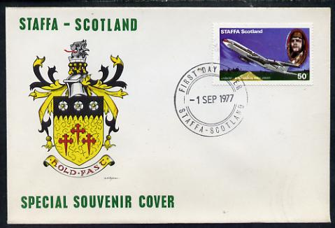 Staffa 1977 Pan-American Airways 50p (from Lindbergh's Flight Anniversary set) on cover with first day cancel
