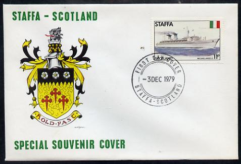 Staffa 1979 Liners & Flags - Michelangelo 11p perf on cover with first day cancel