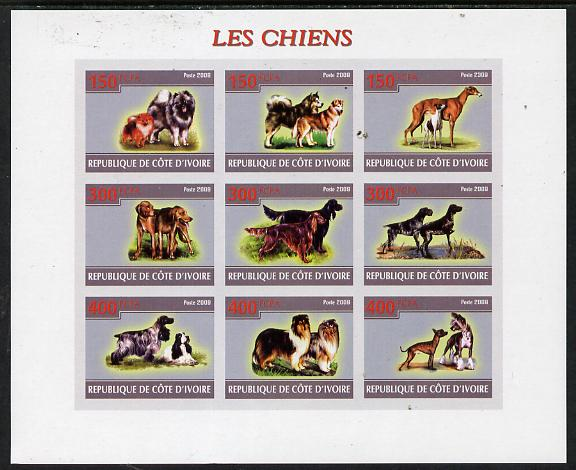 Ivory Coast 2009 Dogs imperf sheetlet containing 9 values unmounted mint