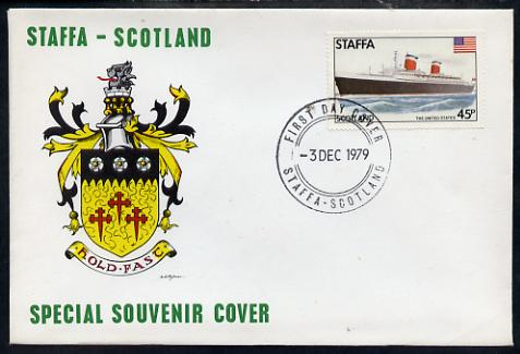 Staffa 1979 Liners & Flags - The United States 45p perf on cover with first day cancel