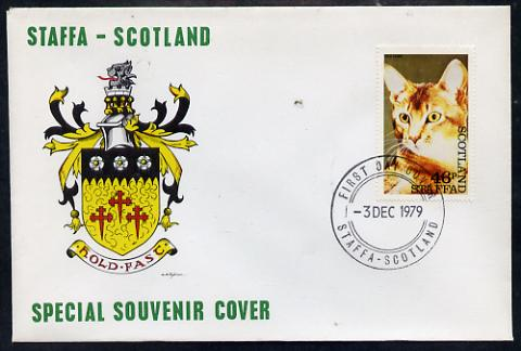 Staffa 1979 Cats - Red Tabby 46p perf on cover with first day cancel
