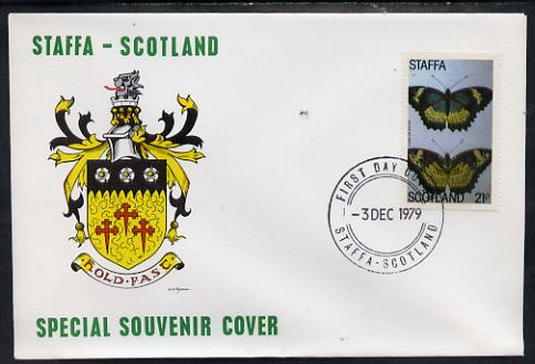 Staffa 1979 Butterflies - Cyane or Zigzag 21p perf on cover with first day cancel