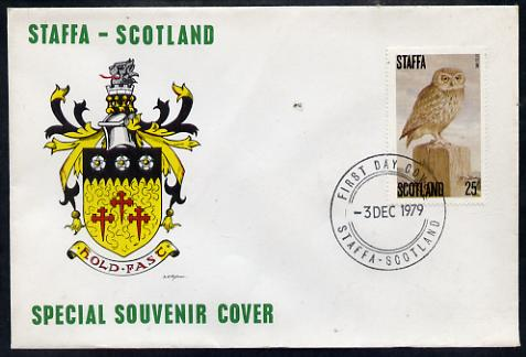 Staffa 1979 Owls - Little Owl 25p perf on cover with first day cancel