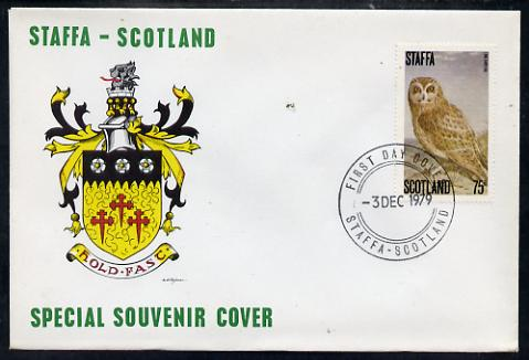 Staffa 1979 Owls - Long-Eared Owl 75p perf on cover with first day cancel