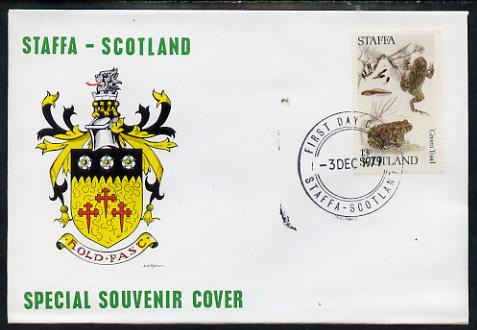 Staffa 1979 Frogs - Green Toad 13p perf on cover with first day cancel