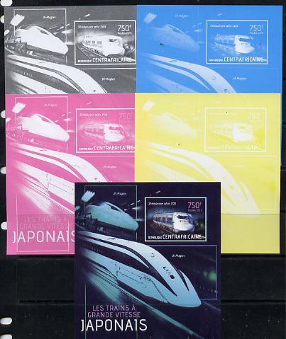 Central African Republic 2013 Japanese High Speed Trains - Shinkansen Series 700 s/sheet - the set of 5 imperf progressive proofs comprising the 4 individual colours plus all 4-colour composite, unmounted mint