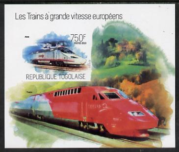Togo 2013 European High Speed Trains - Alvia imperf s/sheet unmounted mint. Note this item is privately produced and is offered purely on its thematic appeal