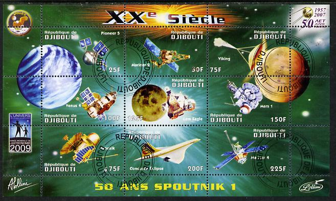 Djibouti 2009 50th Anniversary of Sputnik #01 perf sheetlet containing 9 values fine cto used