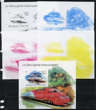 Togo 2013 European High Speed Trains - Alvia s/sheet - the set of 5 imperf progressive proofs comprising the 4 individual colours plus all 4-colour composite, unmounted mint