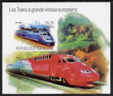 Togo 2013 European High Speed Trains - TGV Duplex imperf s/sheet unmounted mint. Note this item is privately produced and is offered purely on its thematic appeal