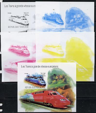 Togo 2013 European High Speed Trains - TGV Duplex s/sheet - the set of 5 imperf progressive proofs comprising the 4 individual colours plus all 4-colour composite, unmounted mint
