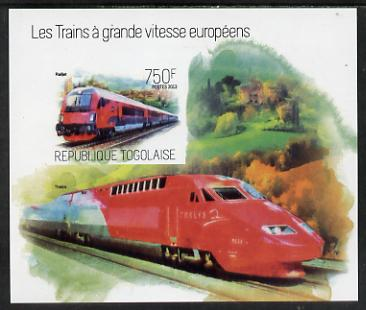 Togo 2013 European High Speed Trains - Railjet imperf s/sheet unmounted mint. Note this item is privately produced and is offered purely on its thematic appeal