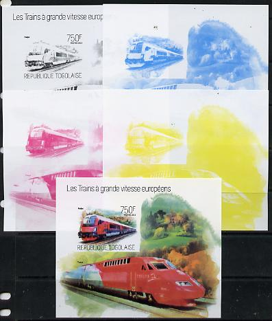 Togo 2013 European High Speed Trains - Railjet s/sheet - the set of 5 imperf progressive proofs comprising the 4 individual colours plus all 4-colour composite, unmounted mint