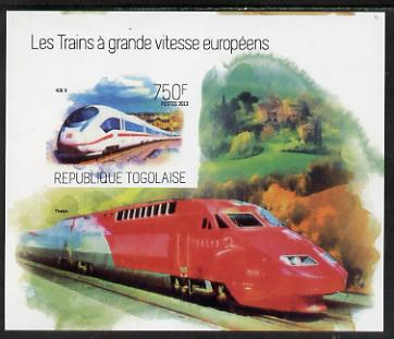 Togo 2013 European High Speed Trains - Ice 3 imperf s/sheet unmounted mint. Note this item is privately produced and is offered purely on its thematic appeal